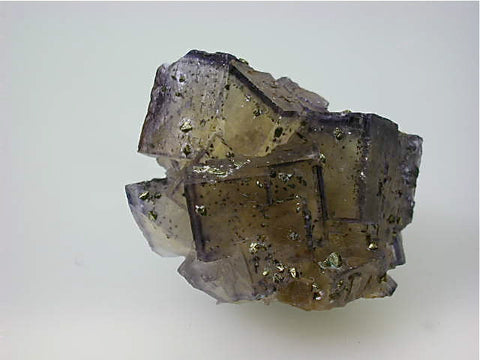 Fluorite with Chalcopyrite, Rosiclare Level Denton Mine, Ozark-Mahoning Company, Harris Creek District, Southern Illinois, Mined c. 1994, Tolonen Collection, Miniature 3.0 x 4.0 x 5.0 cm, $45. Online 3/18. SOLD