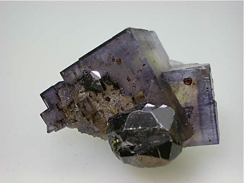 Sphalerite on Fluorite, Rosiclare Level Butterknife Pod Denton Mine, Ozark-Mahoning Company, Harris Creek District, Southern Illinois, Mined c. 1986-1988, Tolonen Collection, Miniature 4.0 x 4.5 x 5.5 cm, $350.  Online 1/13 SOLD