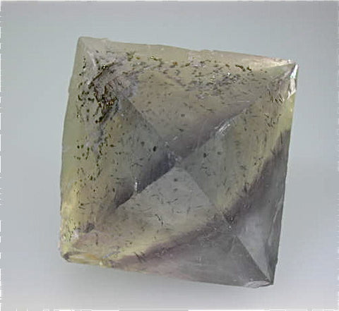 Fluorite Octahedron (cleavage) with Chalcopyrite inclusions, Rosiclare Level, Denton Mine, Harris Creek District, Southern Illinois Miniature 5 cm on edge $75. Online 12/20