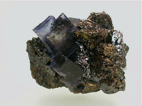 Fluorite and Sphalerite, Annabel Lee Mine, Ozark-Mahoning Company, Harris Creek District, Southern Illinois, Mined c. late 1980's, Tolonen Collection, Miniature 3.0 x 4.0 x 5.5 cm, $65. Online 3/18. SOLD.