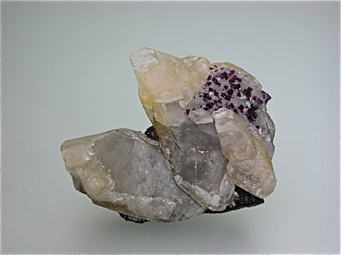 Fluorite and Calcite, Hill-Ledford Mine attr. Sub-Rosiclare Level, Ozark-Mahoning Company, Cave-in-Rock District, Southern Illinois, Mined ca. 1958-early 1960s, Fowler Collection, Small Cabinet 4.0 x 9.0 x 9.0 cm, $25. Online 7/19 SOLD.