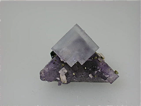 Calcite and Sphalerite on Fluorite, Rosiclare Level, Main Ore Body, Denton Mine, Ozark-Mahoning Company, Harris Creek District, Southern Illinois, Mined c. 1981-1982, Tolonen Collection, Miniature 3.5 x 3.5 x 4.5 cm, $650.  SOLD