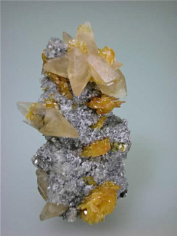 Calcite and Barite on Fluorite, Sub-Rosiclare Level, Lillie Pod, Denton Mine, Ozark-Mahoning Company, Harris Creek District, Southern Illinois, Mined c. 1983-1985, Tolonen Collection, Miniature 3.0 x 4.0 x 6.5 cm, $350.  Online 1/13. SOLD