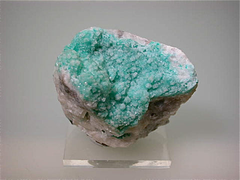 SOLD Calcite on Dioptase, Tsumeb Mine, Namibia Miniature 3.5 x 4.5 x 5.5 cm $125. Online 12/20