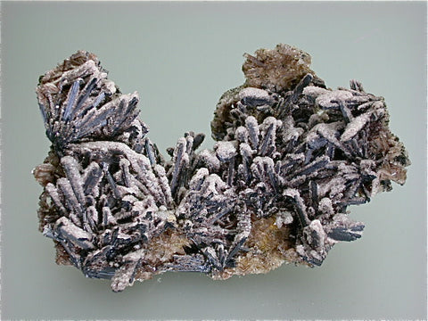 Barite on Stibnite, Roata Mine, Cavnic District, Maramures Romania, ex: Wouter van Tichelen #20040801, Mined ca. early 1980s, Medium Cabinet 4.5 x 9.0 x 14.5 cm, $1500. Online 07/11.