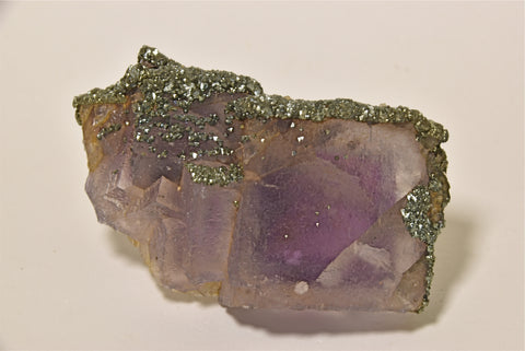 SOLD Fluorite with Pyrite/Marcasite, Shelby System, Henson Mine, Ozark-Mahoning Company, Pope County, Illinois Small cabinet 2.5 x 4.5 x 8 cm $350. Online 4/7