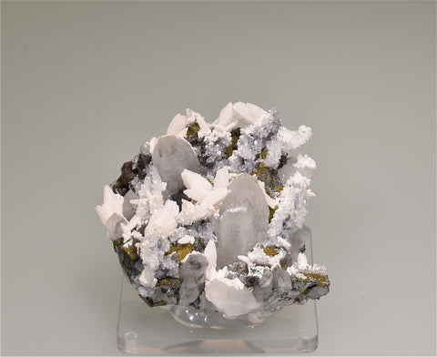 Quartz, Calcite and Chalcopyrite, Quirvuilca, Peru, Mined ca. late 1980s, Kalaskie Collection #447, Miniature 2.5 x 6.0 x 6.5 cm, $65.  Online 3/7.