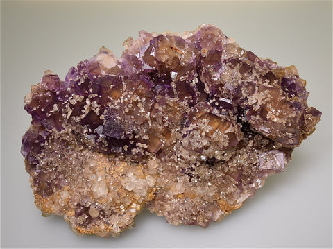 Fluorite with Calcite, Rosiclare Level, Crystal/Victory Complex, Spar Mountain Area, Cave-in-Rock District, Southern Illinois Large cabinet 5.5 x 14.5 x 21 cm, $450. Online 3/30