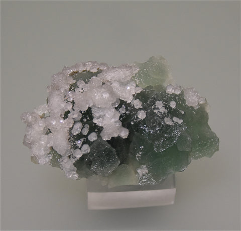 Fluorite with Calcite, Parral, Chihuahua, Mexico, Holzner Collection #800, Miniature 1.0 x 3.5 x 5.5 cm, $85.  Online 4/30.