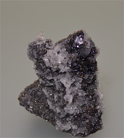 SOLD Quartz and Sphalerite with Fluorite and Galena, Sub-Rosiclare Level Deardorff Mine, Ozark-Mahoning Company, Cave-in-Rock District, Southern Illinois, Mined ca. 1960s, Holzner Collection #601, Small Cabinet 4.0 x 7.0 x 8.0  cm, $65.  Online 4/30.