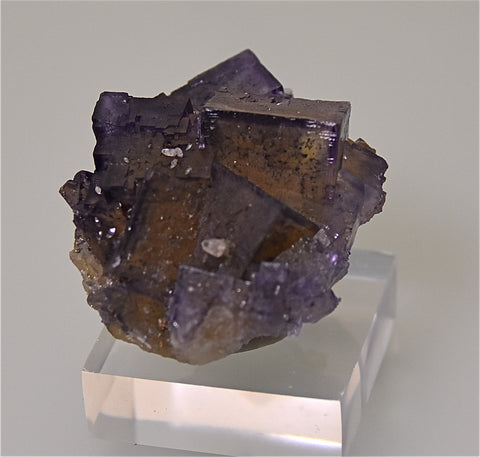 SOLD Fluorite with Calcite, Rosiclare Level attr. Denton Mine, Ozark-Mahoning Company, Harris Creek District, Southern Illinois, Mined ca. mid-1980s, Holzner Collection, Miniature 3.0 x 4.5 x 5.5  cm, $125.  Online 4/30.