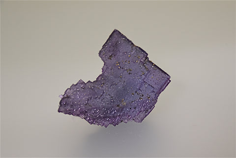 SOLD Chalcopyrite on Fluorite, Sub-Rosiclare Level Annabel Lee Mine, Ozark-Mahoning Company, Harris Creek District, Southern Illinois, Mined ca. 1988, Holzner Collection #C-013, Small Cabinet 4.5 x 5.5 x 7.5 cm, $250. Online 5/1