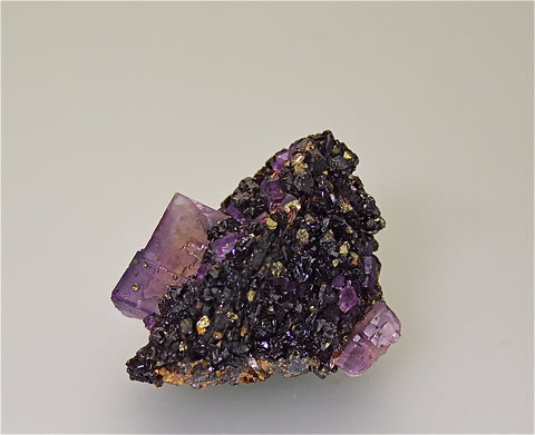 Sphalerite and Fluorite with Chalcopyrite, attr. Sub-Rosiclare Level North-End Denton Mine, Ozark-Mahoning Company, Harris Creek District, Southern Illinois, Mined ca. 1983, Holzner Collection #C009, Small Cabinet 5.0 x 6.5 x 8.0  cm, $250.  Online 5/1
