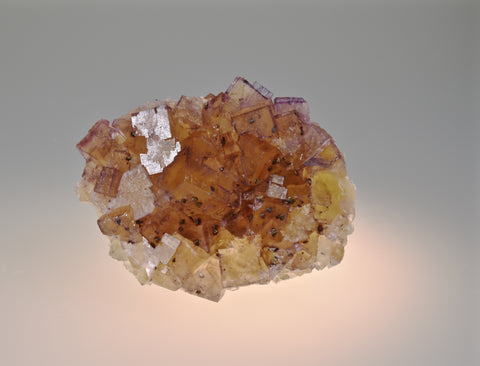 ON APPROVAL.  Fluorite with Chalcopyrite, Bethel Level, M.F. Oxford #7 (attr.), Ozark-Mahoning Company (attr.), Cave-in-Rock District, Southern Illinois Small cabinet 3.5 x 7 x 9 cm $200. Online 6/9