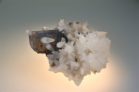 Calcite on Fluorite, Bethel Level attr. A.L. Davis #4 Mine, Ozark-Mahoning Company, Cave-in-Rock District, Southern Illinois, Mined circa 1960s, Wayne Fowler Collection, Small Cabinet 6.0 x 9.0 x 12.0 cm, $350.  Online 7/25