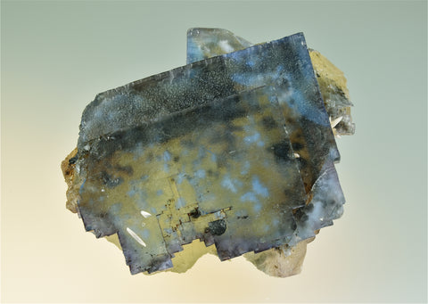SOLD Fluorite with Barite and Hydrocarbon inclusions, Bethel Level, Minerva #1 Mine, Minerva Oil Company, Cave-in-Rock District, Southern Illinois Small cabinet 4.5 x 6 x 7.5 cm $350. Online 6/28