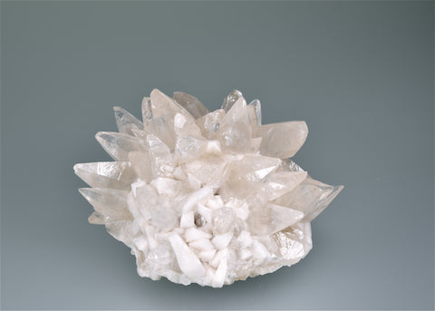 SOLD Calcite and Barite, Barnett Mine, Ozark-Mahoning Company, Pope County, Southern Illinois, Mined c. 1960's, Wayne Fowler Collection, Small Cabinet 6.0 x 8.0 x 8.5 cm, $200. Online 8/10.