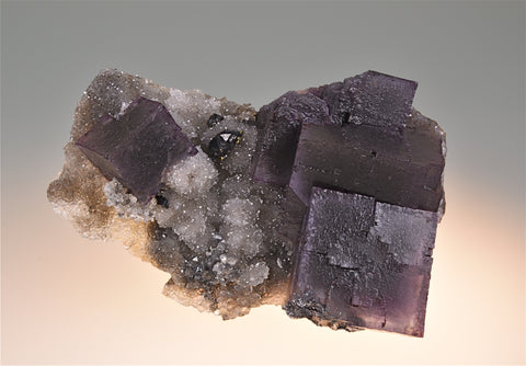 Fluorite on Quartz with Sphalerite and Galena, Hill-Ledford Mine attr. Sub-Rosiclare Level, Ozark-Mahoning Company, Cave-in-Rock District, Southern Illinois, Mined c. 1958-early 1960's, Fowler Collection, Miniature 3.6 x 6.5 x 9.5 cm, $450. Online 6/27