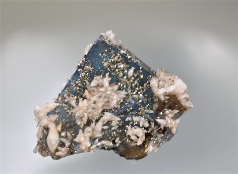 Calcite and Pyrite on Fluorite, Bethel Level attr. West Green Mine, Ozark-Mahoning Company, Cave-in-Rock District, Southern Illinois, Mined c. 1960's, Wayne Fowler to Ross C. Lillie Collection #RCL2708, Miniature  4.0 x 5.5 x 7.0 cm, $250. Online 8/10.