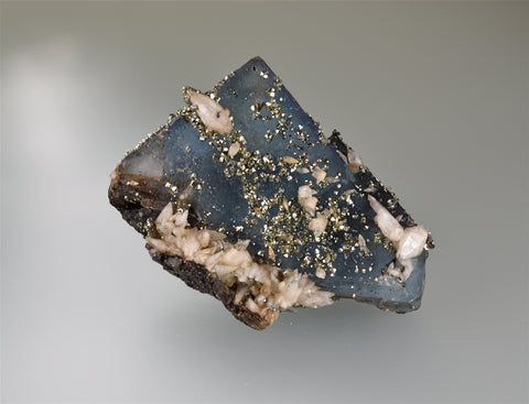 Pyrite and Calcite on Fluorite, Bethel Level attr. West Green Mine, Ozark-Mahoning Company, Cave-in-Rock District, Southern Illinois, Mined c. 1960's, Wayne Fowler Collection, Miniature 3.5 x 5.5 x 7.0 cm, $250.  Online 8/15.