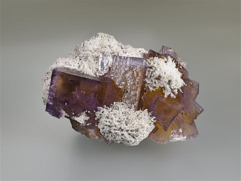 Fluorite and Barite with Chalcopyrite, Sub-Rosiclare Level, Annabel Lee Mine, Ozark-Mahoning Company, Harris Creek District, Southern Illinois, Mined c. 1988, Small Cabinet, 5 x 7 x 9.5 cm, $450.  Online 3/20
