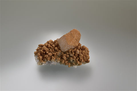 Calcite with Rhodochrosite, Djurkovo Mine, Laki District, Southern Rhodope Mountains, Bulgaria, Mined 2015, Miniature 3.0 x 4.0 x 6.3 cm, $125. Online 10/6.