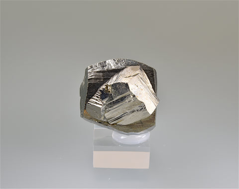 Pyrite, Gjudurska Mine, Zlatograd District, Smolyan Oblast, Bulgaria, Mined 2012, Miniature, 3.0 x 3.3 x 3.5 cm, $40.  Online 3/20