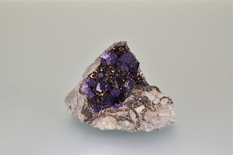 Fluorite, Auglaize Quarry, Junction, Ohio, Ralph Campbell Collection, Small Cabinet 5.0 x 5.5 x 9.0 cm, $250. Online 10/5.