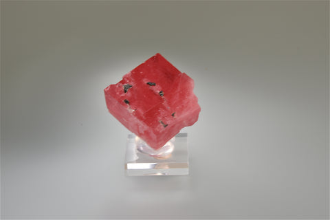 Rhodochrosite, Good Luck Pocket, Main Stope Sweet Home Mine, Alma, Colorado, Kalaskie Collection #828, Miniature 1.6 x 2.6 x 2.7 cm, $500.  Online 10/6.