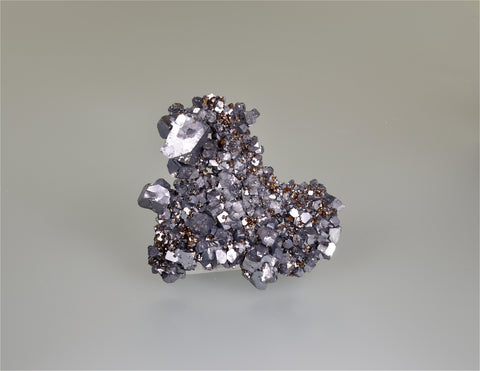 Galena on Sphalerite, Sub-Rosiclare Level, Annabel Lee Mine, Ozark-Mahoning Company, Harris Creek District, Southern Illinois, Mined November 1987, Kalaskie Collection #461, Miniature 2.2 x 7.0 x 7.5 cm, $125.  Online 11/6.