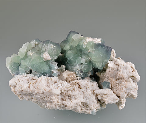 Fluorite on Feldspar, Mount Antero, Chaffee County, Colorado Small cabinet 5 x 7 x 9.5 cm $125. Online 7/9 ON APPROVAL