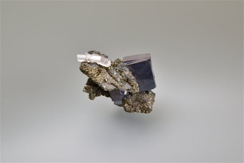SOLD Galena on Marcasite after Anhydrite, Sweetwater Mine, Viburnum Trend, Missouri, Collected c. 1980's, Ralph Campbell Collection, Miniature 3.0 x 3.5 x 5.0 cm, $50. Online 10/4.