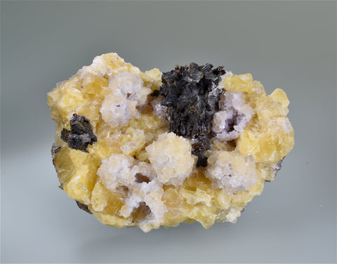 Fluorite and Sphalerite, Bethel Level, A.L. Davis #4, Ozark-Mahoning Company, Cave-in-Rock District, Southern Illinois, Mined c. 1960's, Warren Lathom Collection, Small Cabinet 4.5 x 7.5 x 12.0, $250.  Online 3/20