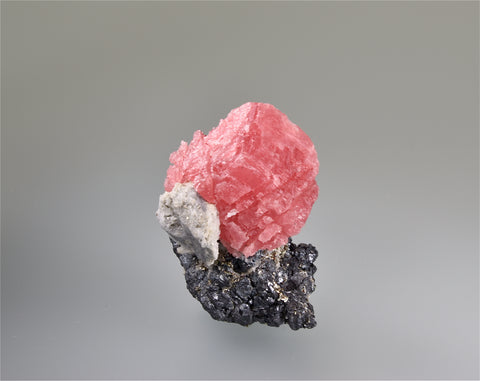 Rhodochrosite on Sphalerite, Wuton (Wudong) Mine, Liubao, Wuzhou Prefecture, Guangxi Ahuang A. R., China, Mined c. 2010, Kalaskie Collection #846, Miniature 3.5 x 4.7 x 6.0 cm, $300. Online 11/2.