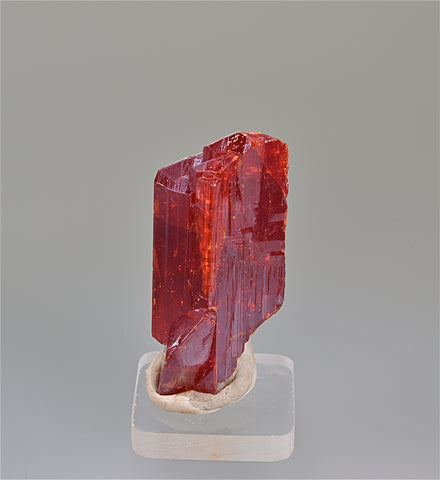 Realgar, Jiepaiyu Mine Shimen, Hunan Province, China, Mined circa 1993, Kalaskie Collection #854, Miniature 1.0 x 1.5 x 4.0 cm, $125.00. Online 6/12.