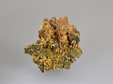 SOLD Wulfenite on Mimetite, San Juan Poniente Vein, Level 6 Mina Ojuela, Mapimi, Durango, Mexico, Mined c. 2008, Kalaskie Collection #1110, Small Cabinet 3.0 x 3.0 x 8.0 cm, $200.  Online 10/5.