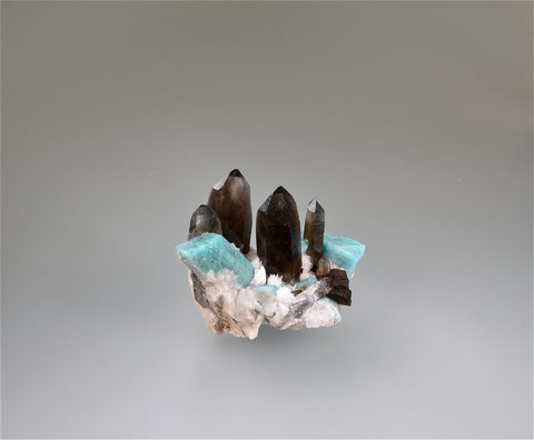 Smokey Quartz on Amazonite, Dreamtime Mine, Colorado, Repair 1X, Kalaskie Collection #823, Miniature 3.5 x 5.0 x 5.5 cm, $1200.  Online 11/7.