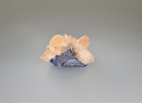 Calcite on Fluorite, Rosiclare Level, Minerva #1 Mine, Ozark-Mahoning Company, Cave-in-Rock District, Southern Illinois, Mined December 1992, Ralph Campbell Collection, Miniature 4.5 x 5.5 x 7.5 cm, $480. Online 11/3