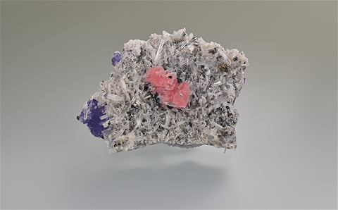 Rhodochrosite and Quartz with Fluorite, Blueberry Pocket GPR Drift, Sweet Home Mine, Alma Colorado, Collected c. 1993, Kalaskie Collection #858, Miniature 1.5 x 4.5 x 6.5 cm, $125.  Online 6/14
