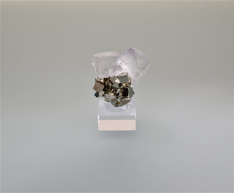 Fluorite with Pyrite, Huanzala, Peru, Ralph Campbell Collection, Miniature 3.0 x 3.5 x 4.0 cm, $125. Online 10/4.