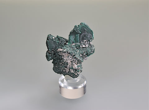 SOLD Malachite after Azurite, Milpillas, Cuitaca, Sonora, Mexico, Mined c. 2010, Kalaskie Collection #1270, Small Cabinet 4.5 x 6.5 x 7.5 cm, $100.  Online 10/5.