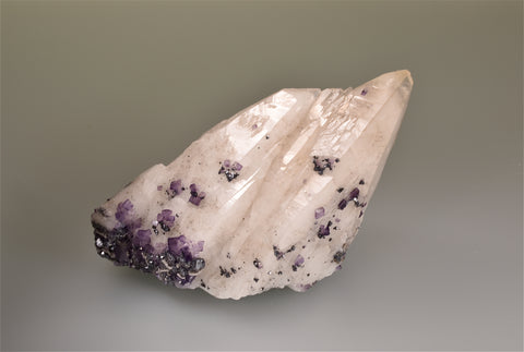 SOLD Fluorite and Galena on Calcite, Gaskins Mine, attr. Minerva Oil Company, Cave-in-Rock District, Southern Illinois, Mined c. 1970s,  Dr. H. Perry & Anne Bynum Collection, Medium Cabinet 7.0 x 13.0 x 13.0 cm, $280.  Online 10/5.