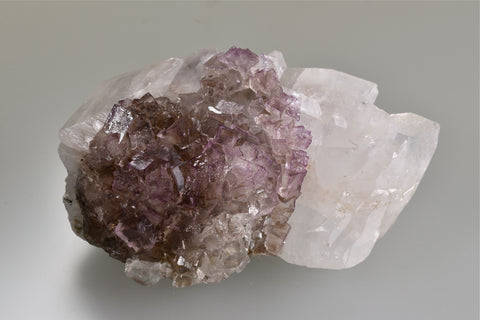 Fluorite on Calcite, Danville, Kentucky, Ron Roberts Collection #KY-13, Small Cabinet, 3.5 x 5.0 x 8.0 cm, $25. Online Jan. 17.