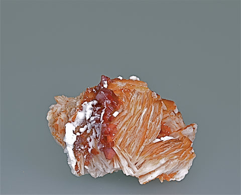Vanadinite on Barite, Mibladen, Morocco, Collected c. 1981, Kalaskie Collection #196, Miniature 4.0 x 5.5 x 6.7 cm, $350.  Online 11/7.