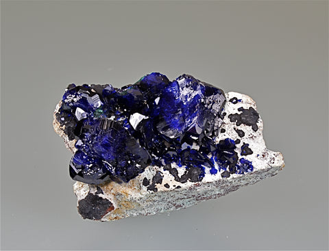 Azurite, Milpillas Mine, Municipality of Santa Cruz, Sonora, Mexico, Mined c. 2010, Kalaskie Collection #1245, Miniature 2.5 x 3.5 x 6.0 cm, $500.  Online 11/7.