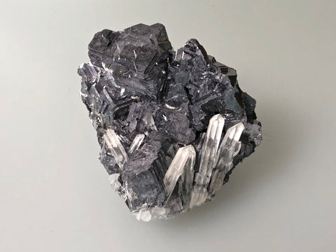 Galena with Quartz, Kruchev dol Mine, Madan District, Bulgaria, Mined c. 2012, Miniature 5.0 x 6.0 x 6.0 cm, $125.  Online January 30.