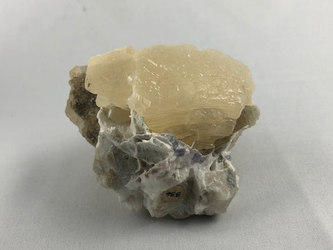 Witherite and Calcite with Fluorite, Bethel Level, Minerva #1 Mine, Minerva Oil Company, Cave-in-Rock District, Southern Illinois, ex. Louis Lafayette Collection #336, Small Cabinet, 6.0 x 6.5 x 7.5 cm, $250. Online July 20.