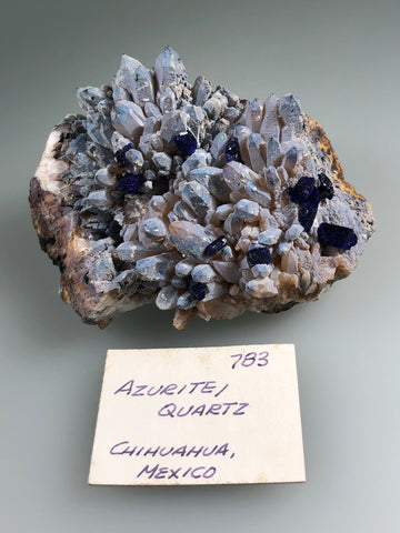 Azurite on Quartz, Sierra Rica attr., Chihuahua, Mexico, ex. Louis Lafayette Collection #783, Small Cabinet, 4.5 x 7.0 x 10.0cm, $125. Online July 20.
