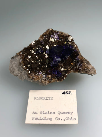 Fluorite, Auglaize Quarry, Junction, Paulding County, Ohio, ex. Louis Lafayette Collection #457, Small Cabinet, 4.0 x 7.0 x 10.0cm, $250. Online July 20.
