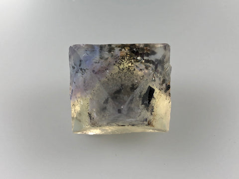 Fluorite Octahedron with Chalcopyrite, Rosiclare Level, Denton Mine, Ozark-Mahoning Company, Harris Creek District, Southern Illinois, Ron Roberts Collection, Miniature approx. 3 cm on edge, 4+ cm point to point, $125.  Online September 15.